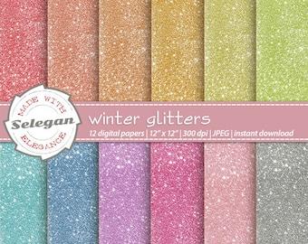Winter Glitters, Digital Paper, Scrapbooking, Paper, 12x12, Printable, Glitter, Lighting, Pattern, Blink, Texture,Sparkle,Winter