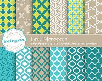 Teal Moroccan, Digital Paper, Scrapbooking, Paper, 12x12, Printable, Pattern, Arabic, Islamic, Middle Eastern, Eid, Background, Download