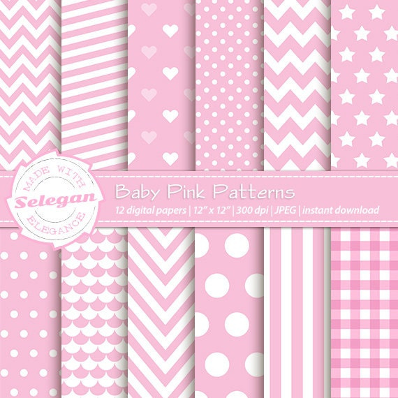 Baby Patterns Baby Pink Patterns Baby Boy Baby Etsy Simple Pink Patterns