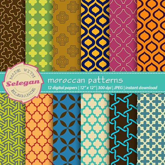 Moroccan Patterns Digital Scrapbook Paper 60x60 Printable Etsy Fascinating Moroccan Design Pattern