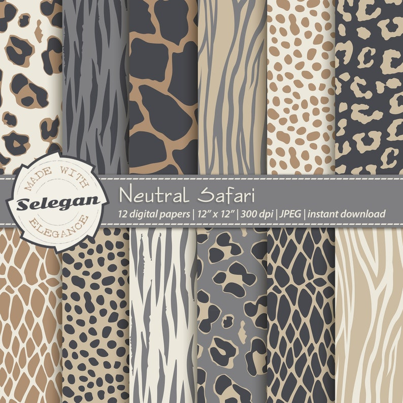 wild skin tone pattern wild animal fur texture digital printable scrapbook paper background Neutral Safari