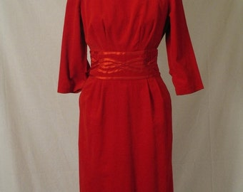 On Sale 1960's Vintage Holiday Semi Formal Little Red Wiggle Dress Christmas  Mrs Claus