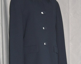 On Sale Navy Blue Blazer White Accents