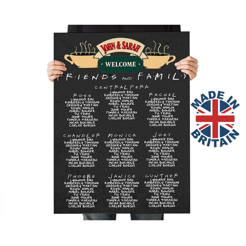 Friends TV Series Themed Wedding Seating Plan Personalised