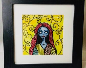 Sally nightmare before Xmas inspired watercolour and ink framed
