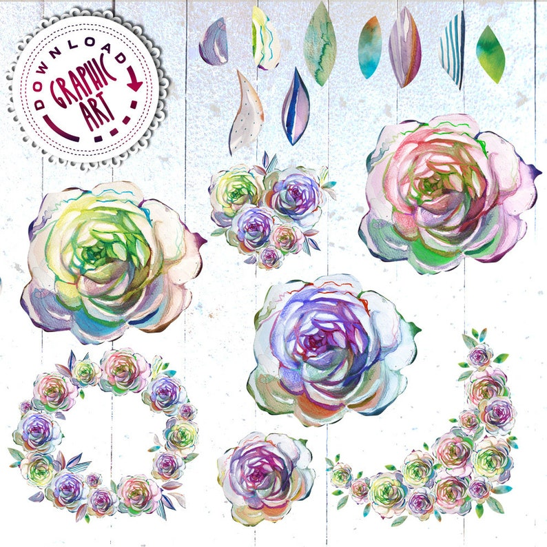 Rose Wafer Paper Print Watercolor Clipart Chic  Wedding DIY Pack Roses Floral Wreath Printable Instant Scrapbooking Vintage Romantic Design