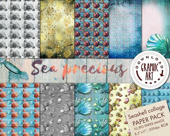 Sea Precious Digital Paper Watercolor Seashells Scrapbooking Etsy
