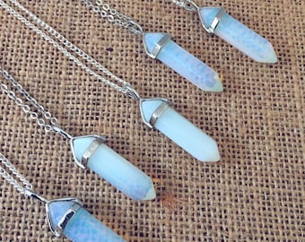 Opal Necklace, Quartz Crystal Necklaces, Point Pendant Necklace, Hippie Opalite Jewellery, Opal Crystal Necklace, Boho Gift by InTheMomentUK