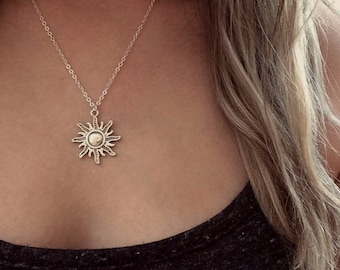 Sun Necklace, Sun Jewellery, Silver Sun Necklace, Sun Choker, Hippie Charm Necklace, Thank You Gift, Letterbox Gift, You're My Sunshine