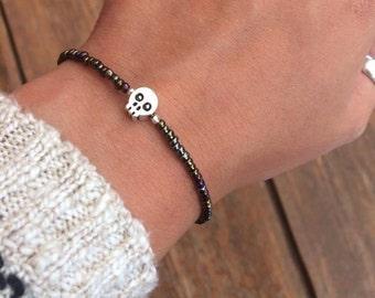 Skull Bead Bracelet/Anklet 5 Size Options, Beaded Skull Bracelet, Grunge Jewellery, Gothic Bracelet, Skull Jewellery