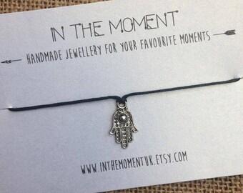 Hamsa Bracelet, Adjustable Hamsa Hand Bracelet, Hippie Bracelet, Spiritual Jewelry, Hipster Bracelet, Fatima Gift by InTheMomentUK