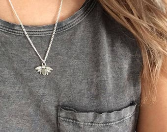 Bee Necklace, Silver Bee Necklace, Charm Jewellery, Animal Necklace, Best Friend Necklace Gift, Layering Jewellery by InTheMomentUK