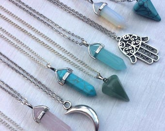 Long Crystal Necklaces, Necklace Gift, Crystal Gemstone Necklaces, Opal Necklace, Moon Hamsa Jewellery, Bohemian Indie Layering