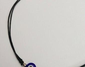 Blue Evil Eye Necklace, Adjustable Choker Necklace, Evil Eye Cord Choker, Grunge Choker, Evil Eye Bead, Hippie Spiritual Necklace