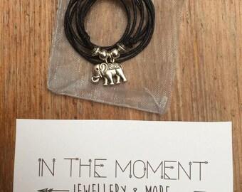Elephant Necklace, Adjustable Black Cord Necklace, Choker Necklace, Elephant Choker, Hipster, Festival Choker, Indie, Bohemian Jewellery