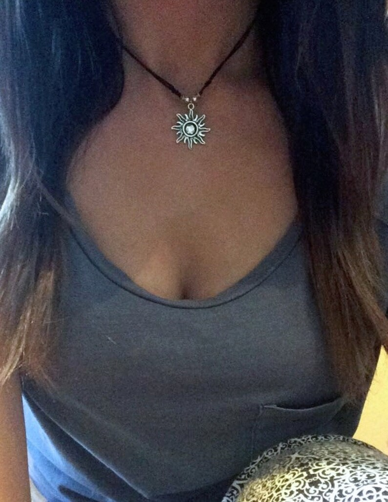 Sun Necklace Sun Necklace Gift for Her Sun Choker Choker image 1