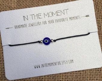 Evil Eye Bracelet/Anklet, Evil Eye Bracelet, Evil Eye Anklet, Adjustable Cord Anklet with Blue Evil Eye Bead, Evil Eye Jewelry, Unisex Gift