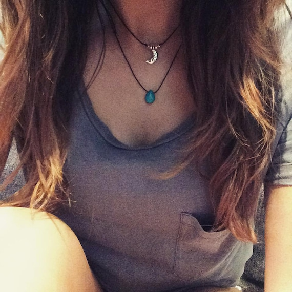 Turquoise Necklace Turquoise Drop Choker Necklace Gift Etsy