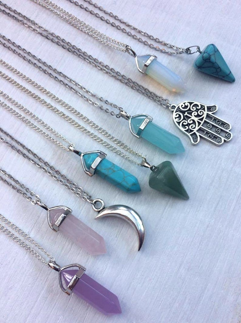 Long Crystal Necklaces Necklace Gift Crystal Gemstone image 1