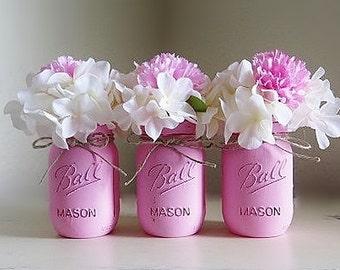Pink Mason Jars, Baby Girl Baby Shower Centerpieces, Painted Distressed Mason Jars, Pink Flower Vases, Rustic Wedding Decor, Set of 3