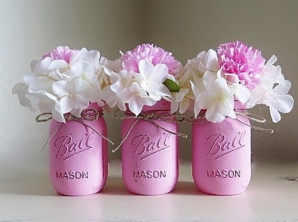 Pink Mason Jars Baby Girl Baby Shower Centerpieces Painted Etsy