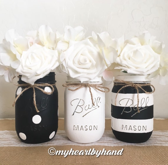 Black And White Mason Jar Centerpieces Distressed Mason Jars Etsy Classy Ball Jar Decorations