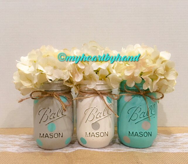 Baby Shower Mason Jars, Baby Shower Decorations, Painted