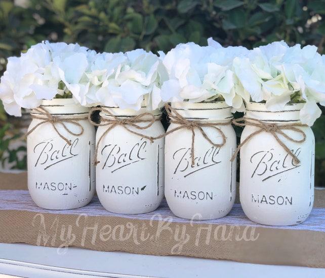 White Wedding Decor, Rustic Home Decor, Painted Mason Jars