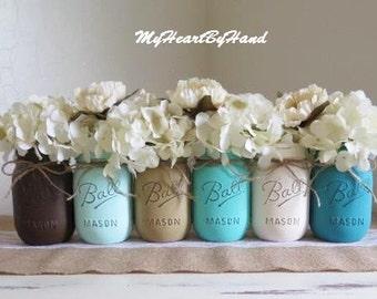 Rustic Assortment of 6 Distressed Mason Jars, Baby Shower Centerpieces, Distressed Mason Jars, Farhouse Wedding, Painted Mason Jar, Southern