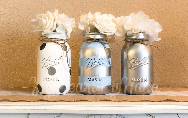 Baby Blue and Silver Mason Jars, Baby Shower Centerpieces