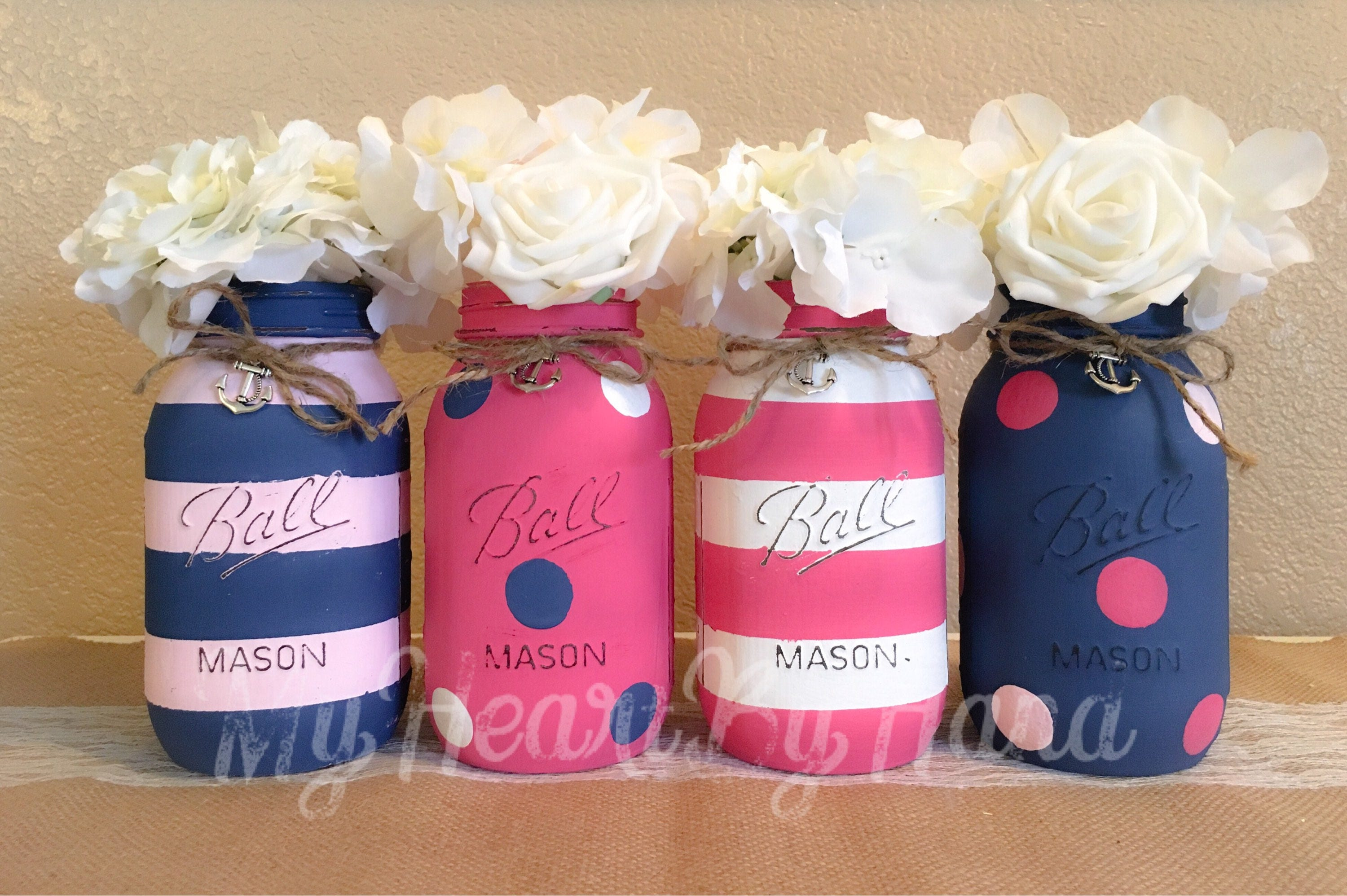 Nautical Baby Shower for Girl Pink Navy White Nautical | Etsy