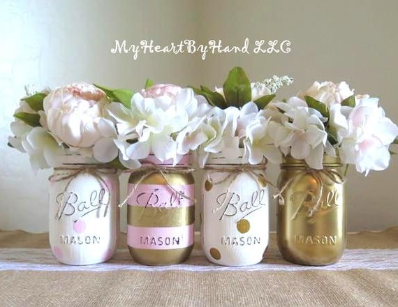 Baby Shower Decorations Pink And Gold Centerpieces Mason Jar Etsy