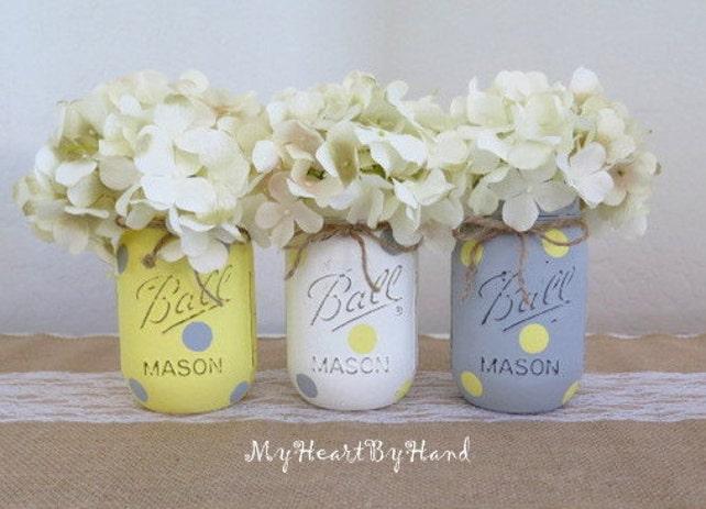 Yellow and Gray Mason Jar Centerpieces, Baby Shower Mason