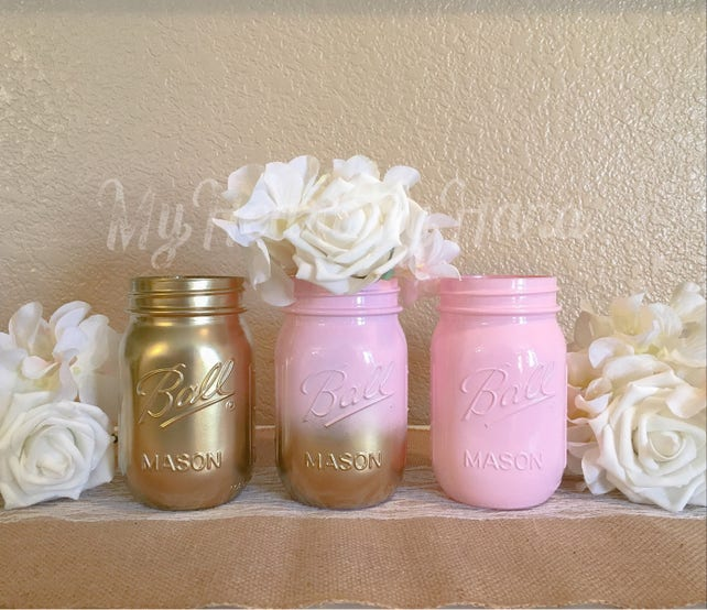 Baby Shower Mason Jar Set, Ombre Mason Jars, Baby Pink and