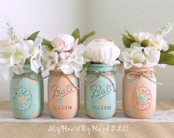 Baby Shower Centerpieces, Mason Jar Centerpieces, Mint and Peach Birthday, Wedding Centerpieces, Distressed Rustic Home Decor, Polka Dots