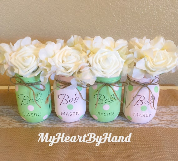 Mint Green and Pink Painted Ball Jars, Baby Shower and