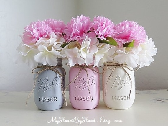 Pink Baby Shower Centerpieces Pink And Gray Baby Shower Etsy