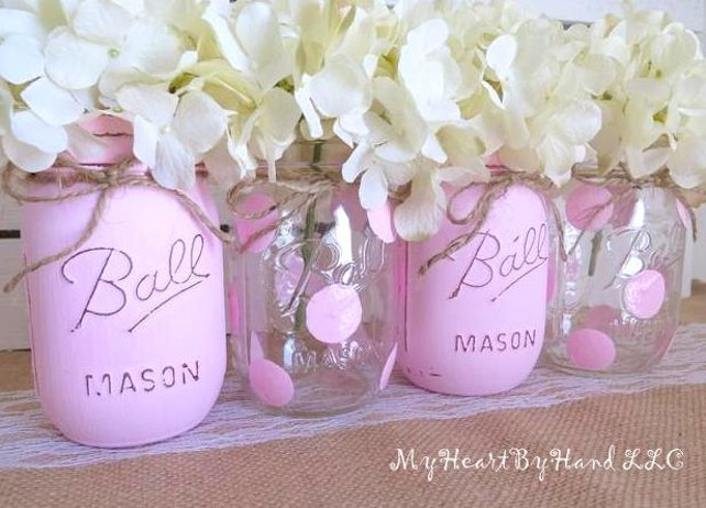 Painted Mason Jars, Pink Baby Shower, Centerpieces, Baptism