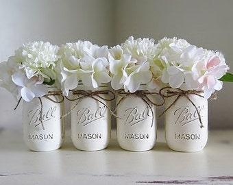 Baby Shower Decorations, Mason Jar Centerpieces, Rustic Home Decor, Painted Mason Jars, Wedding Centerpieces, Distressed Mason Jars