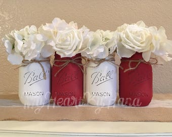 Red and White Mason Jars, Wedding Centerpieces, Rustic Centerpieces, Rustic Home Decor, Red and White Centerpieces, Mason Jar Decor, Vases