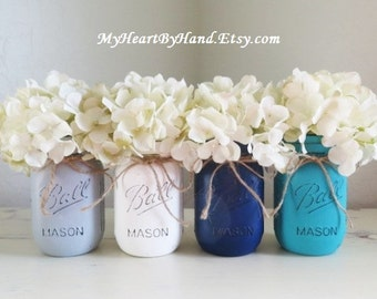 Distressed Mason Jars, Mason Jar Decor, Rustic Home Decor, Painted Mason Jars, Country Home Decor, Baby Shower Centerpieces, Ball Jars