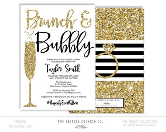 black and gold brunch and bubbly bridal shower invitation gold glitter brunch bubbly invitation taylor collection printable file