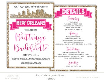 new orleans bachelorette party invitation and itinerary new etsy