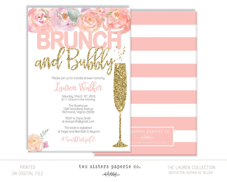 b6bfd73bdc91 Floral Brunch and Bubbly Bridal Shower Invitation LAUREN