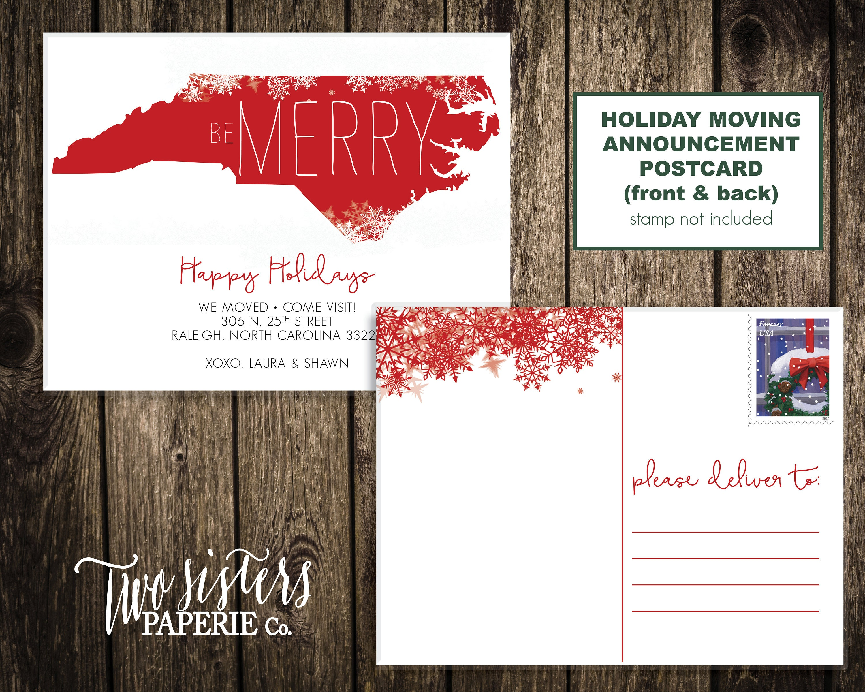 Holiday Moving Announcement Postcard Christmas Moving   Etsy