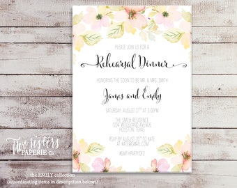 Floral Watercolor Rehearsal Dinner Invitation - EMILY Collection - Watercolor Rehearsal Dinner Invitation - Watercolor Flowers