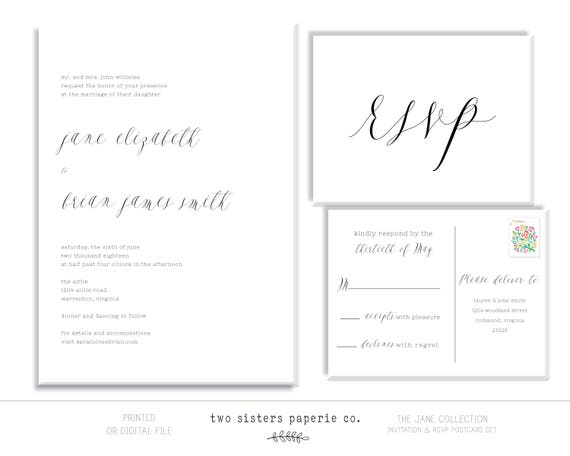 Invitation /& RSVP ASHLEY Collection Formal Script Wedding Invitation and RSVP Postcard 2 Piece Set Wedding Invitation Suite