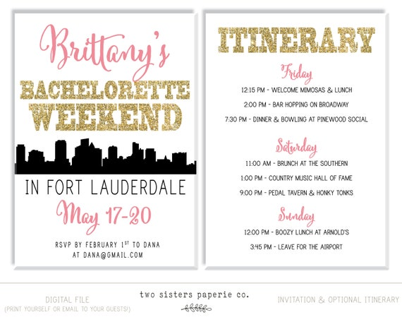 fort lauderdale bachelorette party invitation and itinerary etsy