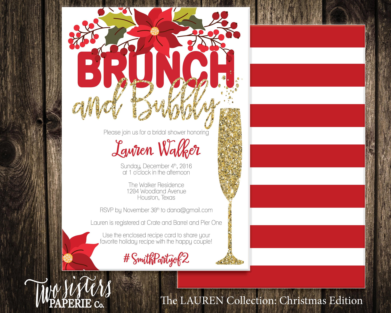 Christmas Bridal Shower Invitation Christmas Floral Brunch | Etsy