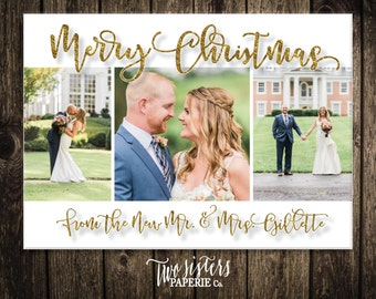 Newlywed Christmas Card - Merry Christmas from the New Mr. & Mrs. - Wedding Christmas Card - Newlywed Christmas - Printable Christmas Card